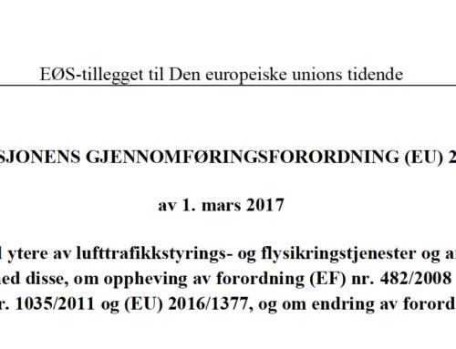 Innføring av forordning EU 2017/373 fra 2. januar 2020